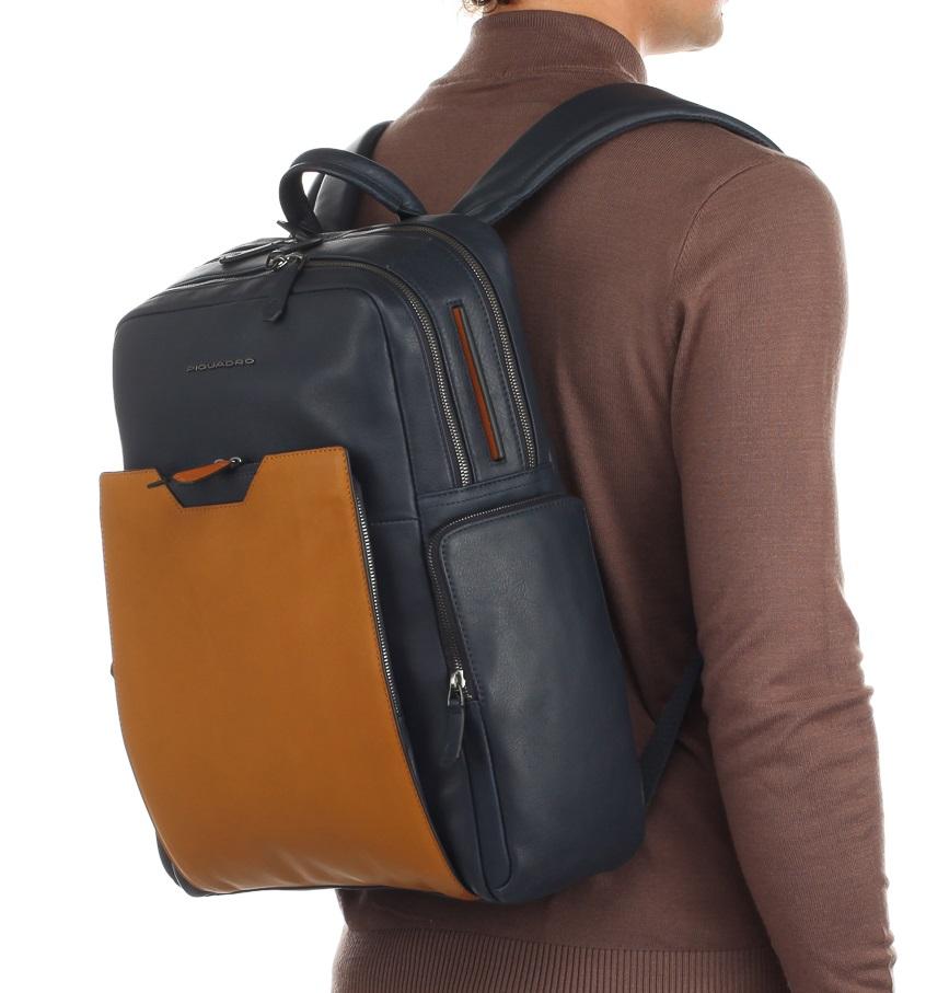 e3aecc4337fd Рюкзак Piquadro Prisma CA4496W87/BLU Серо-синий с рыжим - Купить рюкзак  Пиквадро | Time Bags